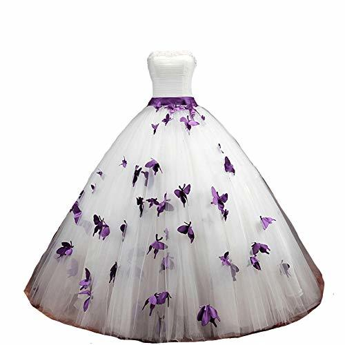 Ball Gown Butterfly Gothic Pearls Long Prom Wedding Dresses 16 White and Purple