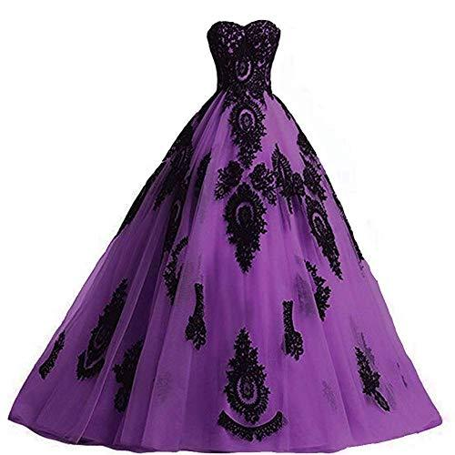 Long Ball Gown Black Lace Gothic Corset Formal Evening Prom Dresses Purple US 6