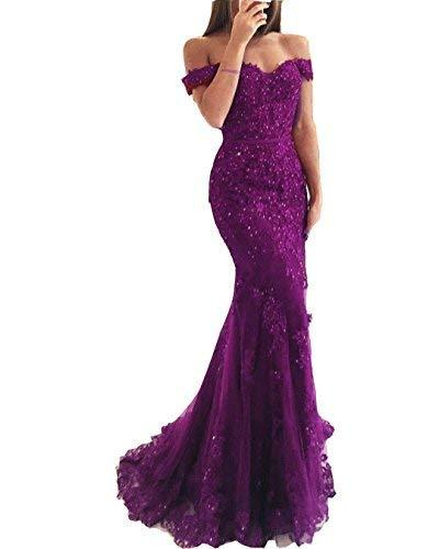 Off The Shoulder Mermaid Long Beaded Corset Prom Dress Evening Gown Purple US 2